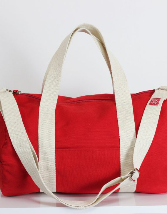 Red Duffel Bag Full Lined Washable Durable Long And Adjustable