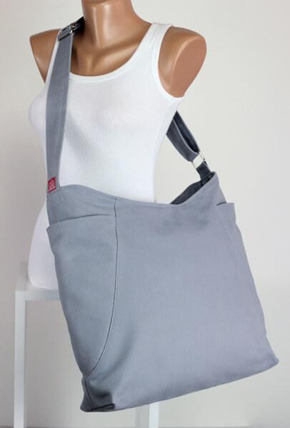 light grey hobo bag
