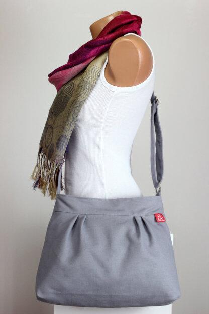 grey canvas purse bag