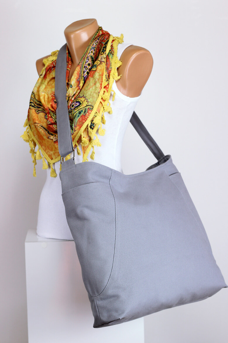 Light Gray Hobo Bag Zipper Closure Two Big Pocket Extra Large Bag Long Strap Canvas Bag Shoulder
