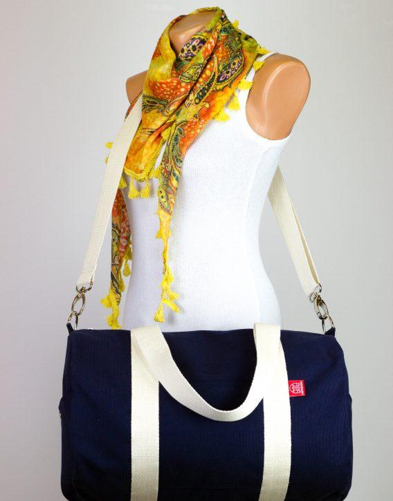 Navy Blue Sport Bag Duffel Bag Long And Adjustable Cotton Strap