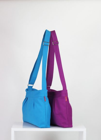 azure blue, purple red small bag