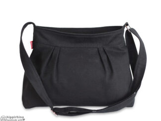 Black Small Pleated Canvas Purse Bag