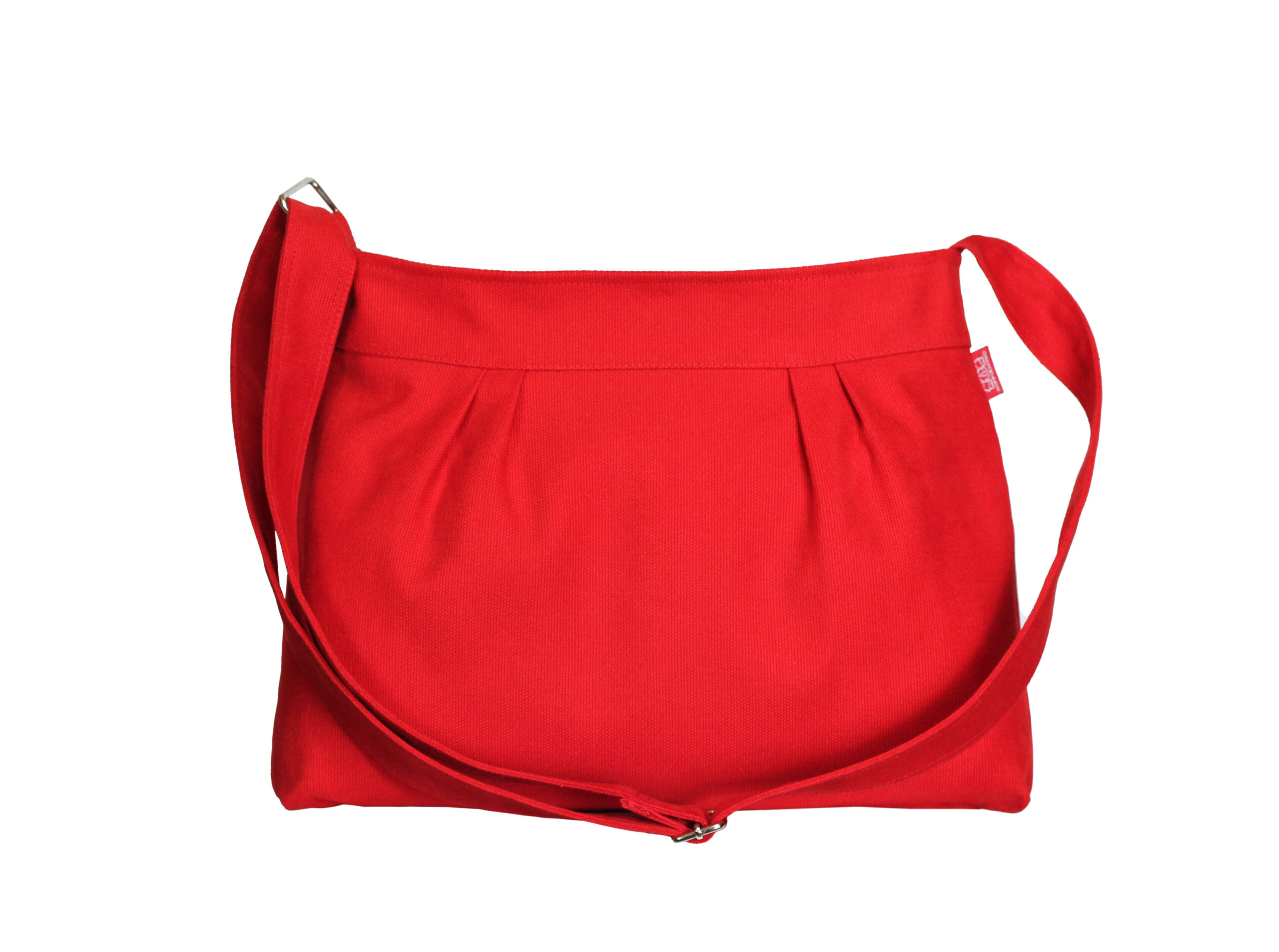 Red Small Pleated Canvas Purse Bag