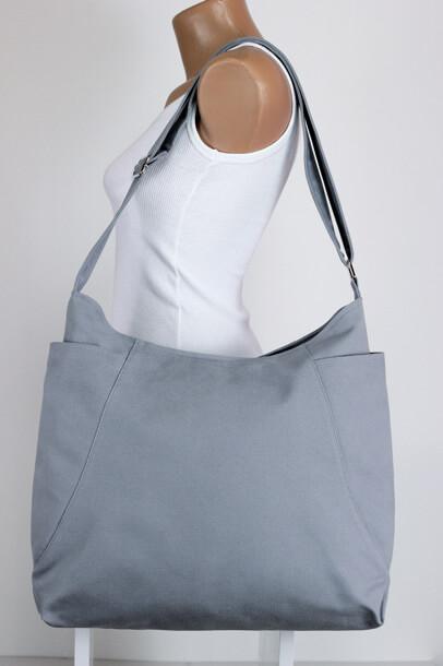 Light Gray Hobo Bag Zipper Closure Two Big Pocket Extra Large Bag ...