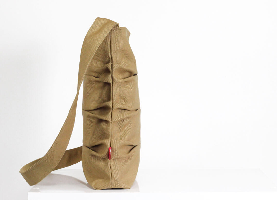camel color wrinkled pleats small canvas bag crossbody and shoulder use washable zipper closure small tote bag different color available - Camel Color