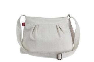 Cream White Cotton Canvas Pleated Purse bag