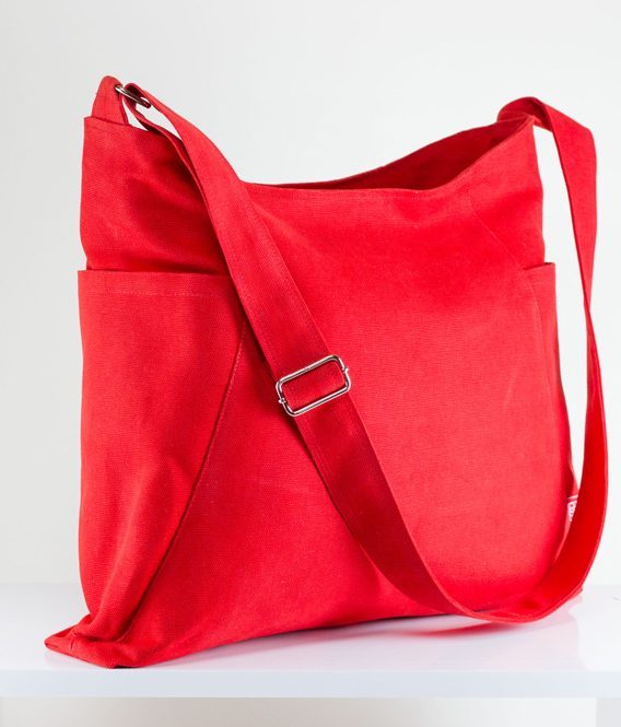 Red Hobo Bag Durable Two Large Pocket Extra Large Bag Elegant Long ...