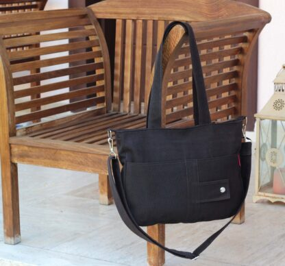 Dark Brown Canvas Shoulder Crossbody Purse Bag