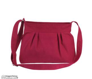 Maroon Small Pleated Canvas bag