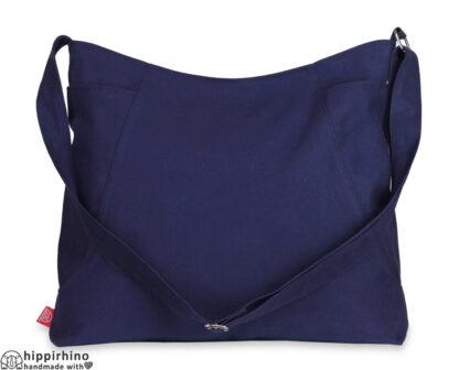 Navy Blue Canvas Hobo Bag