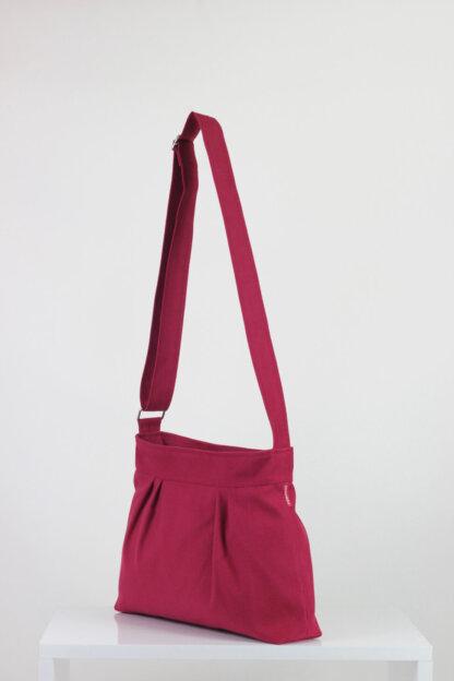 maroon small pleated purse bag