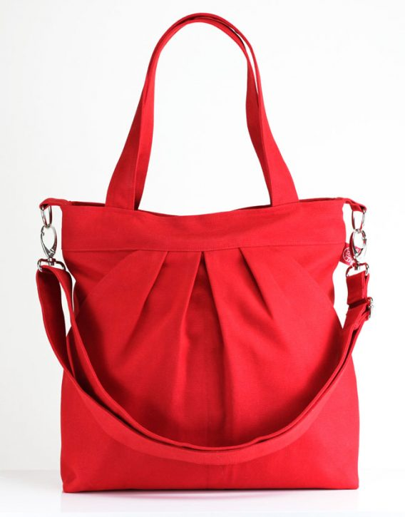 Red Bag, Two Big Pocket, Large Bag, Zipper closed, Purse, Shoulder