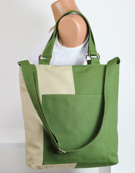 Two Collor Tote Bag Zipper Closure Tote Bag Large Bag Canvas Tote ...