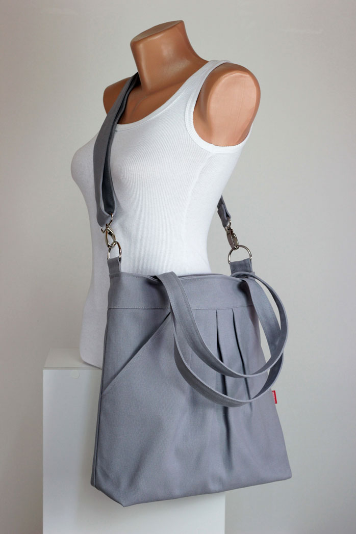 Light Gray Bag Double Straps Washable Choose Your Color Handbags Canvas Diaper Hobo Tote Purse Everyday Gift