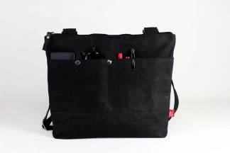 black waxed tote bag