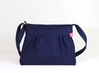 Dark Navy Blue Pleated Canvas Bag