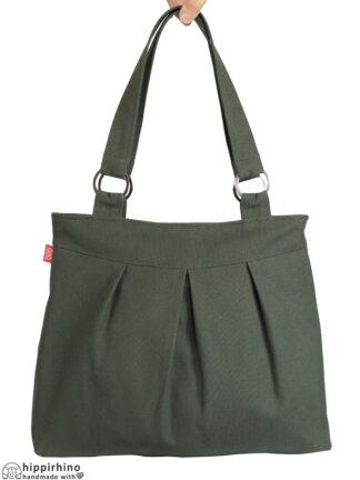 Canvas Shoulder Bag for Women Dark Military Green