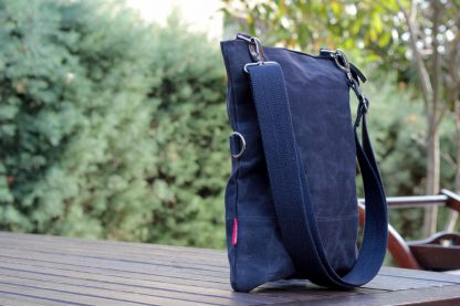 Waxed fold over tote bag