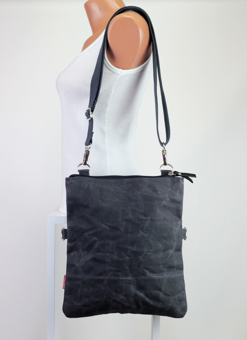 Waxed Canvas Foldover Tote Bag Removable Cotton Vegetable Leather ...