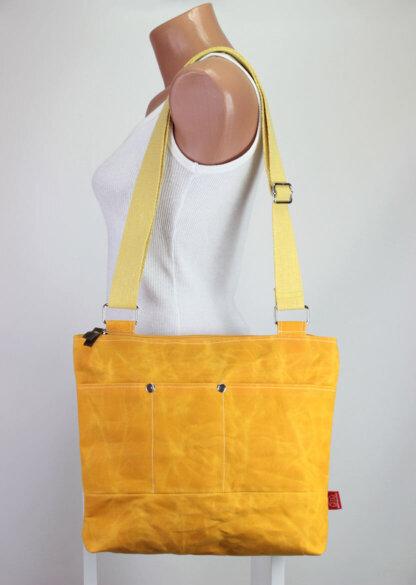 yellow waxed tote bag