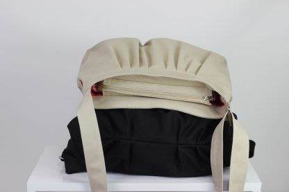 Black and Beige canvas purse bag
