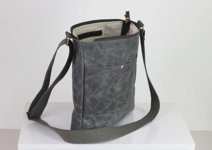 gray waxed unisex messenger