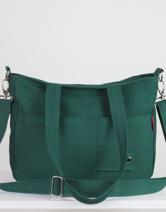 Green canvas purse double strap front pocket college daily use bag ...