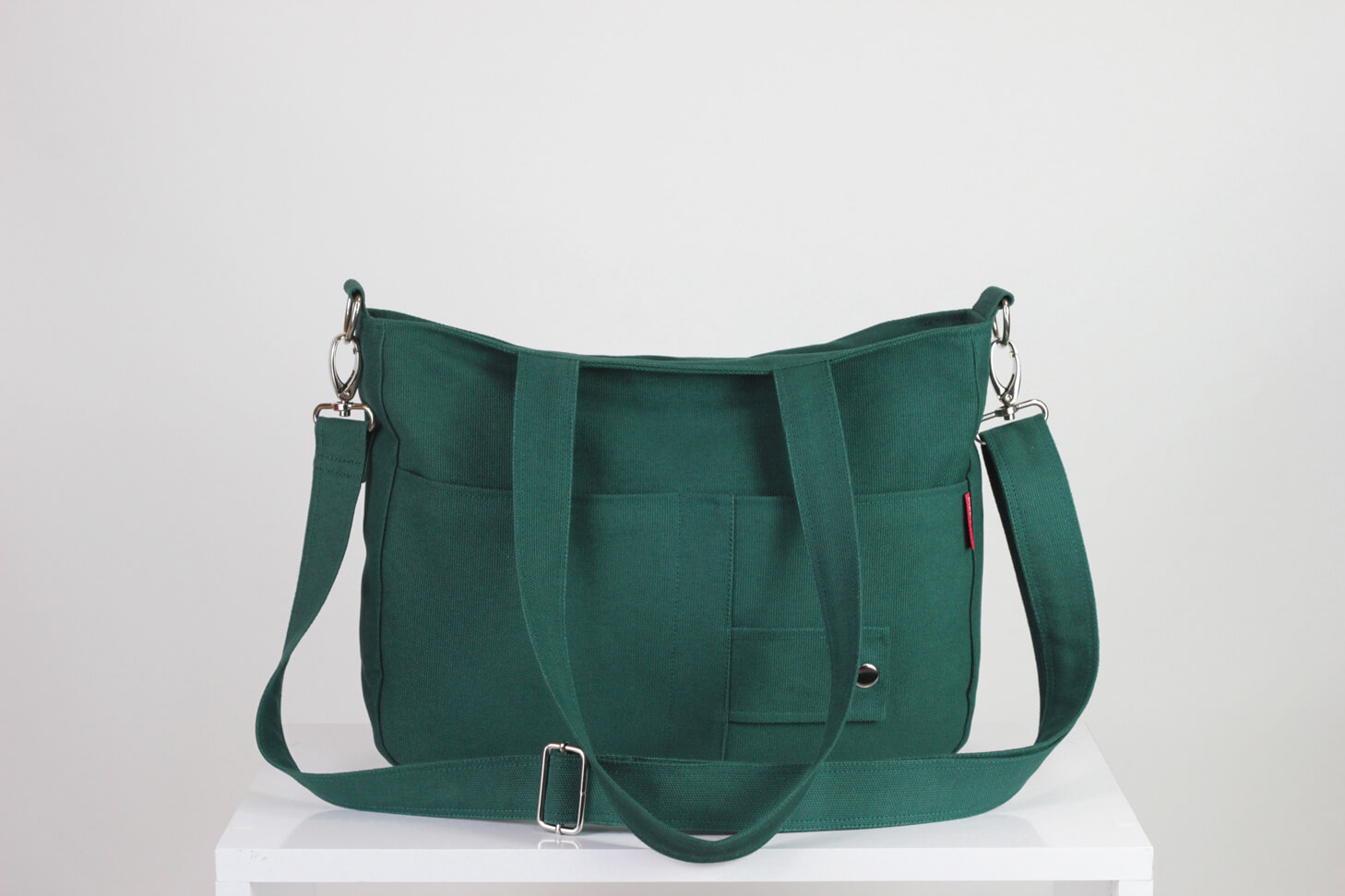 Green Canvas Purse Double Strap Front Pocket College Daily Use Bag Washable Shoulder Crossbody
