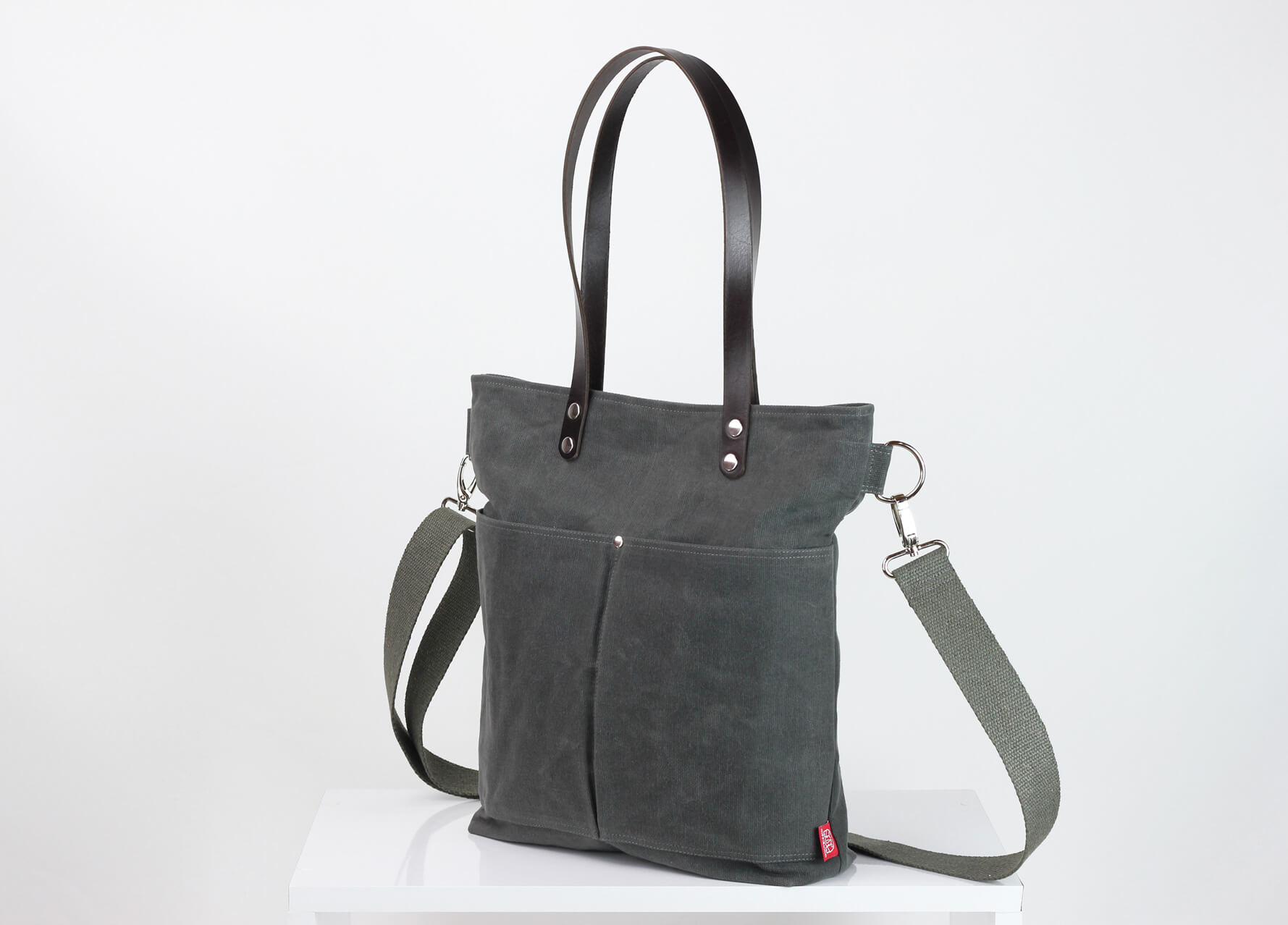 2bfcbbf62 Waxed tote bag with long leather strap, extra thick leather, gray ...