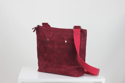 Maroon waxed unisex tote bag