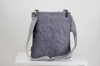 Light Grey waxed foldover bag from hippirhino