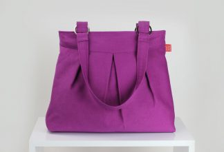 Purple red canvas shoulder bag