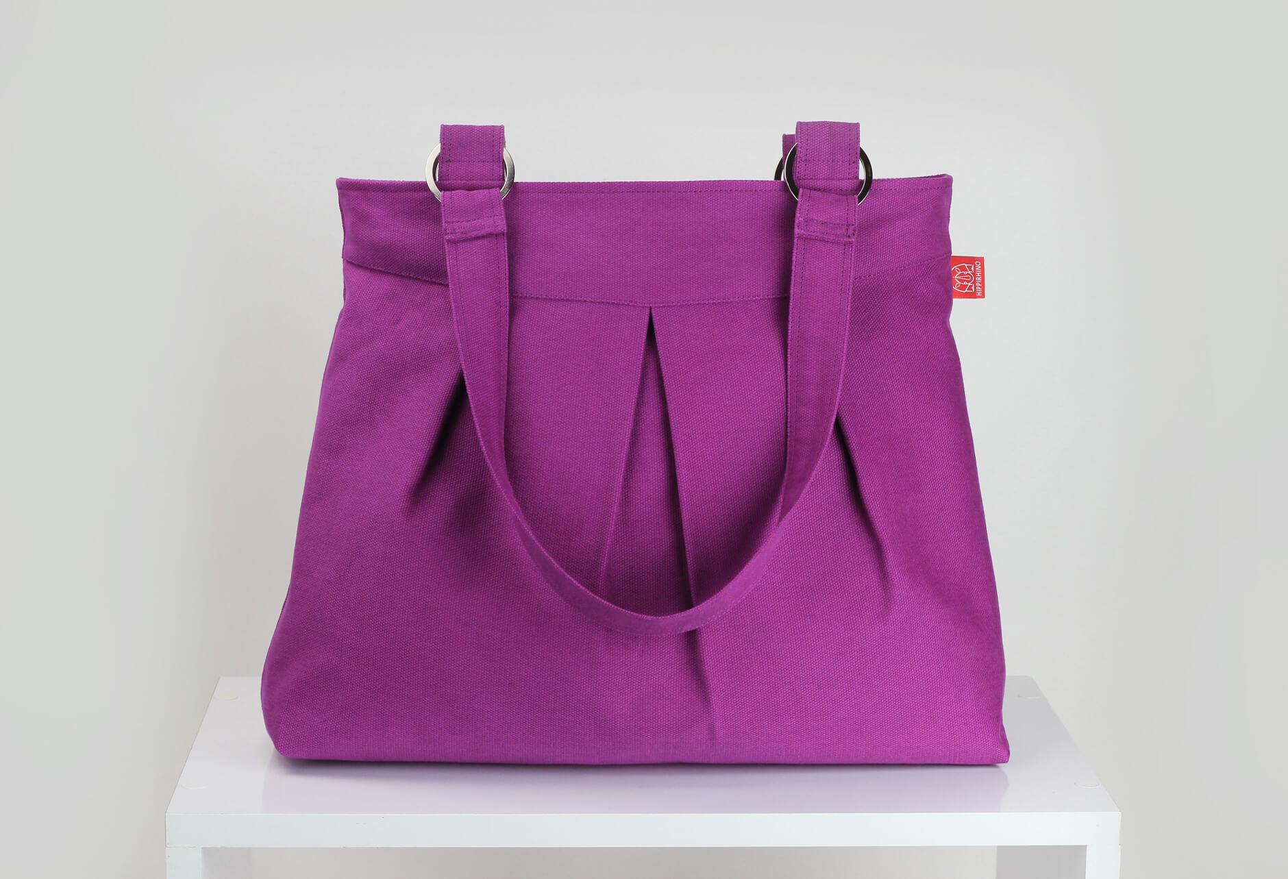 Purple Red Canvas Shoulder Bag