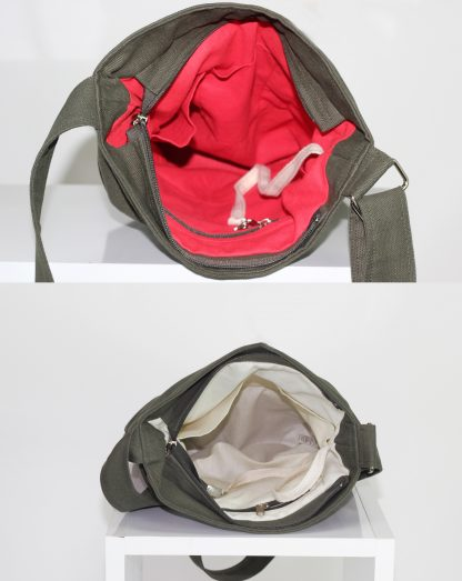 Dark military green small tote bag