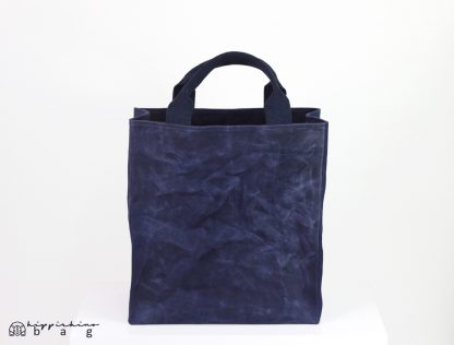 Navy Blue Waxed Grocery Bag