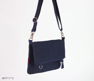 Navy Blue Waxed Foldover Bag