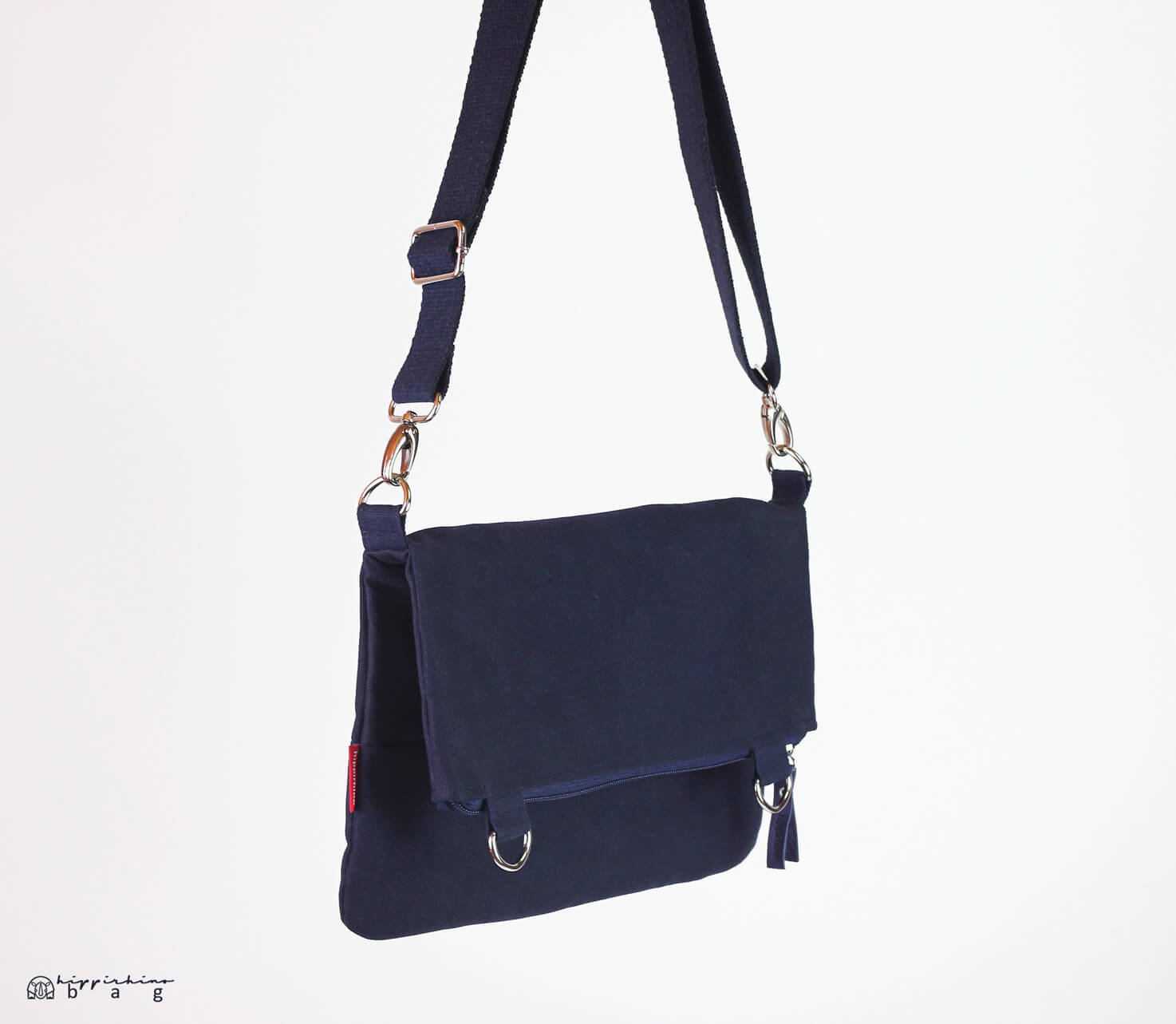 c7232933a24e Small Navy Blue Waxed Crossbody Foldover Tote Bag