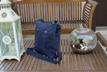 Navy Blue Unisex Waxed Tote Bag