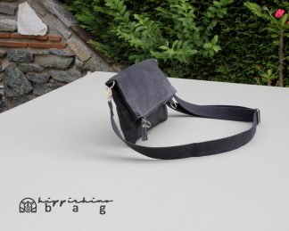 Black Waxed Foldover Clutch Bag