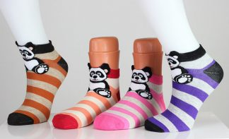 Striped Panda Bear Socks
