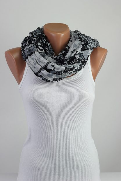 Black White Floral Scarf