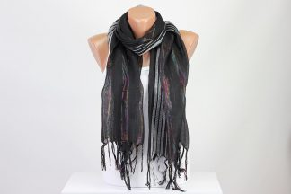 Black Silver Striped Scarf