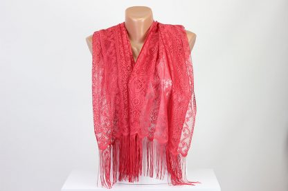 Plain Red Scarf Perforated