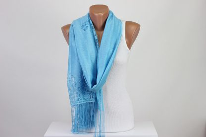 Blue Perforated Scarf