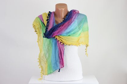 Rainbow Color Pompom Scarf