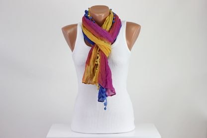 Colorful Pompom Scarf