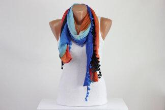 Colorful pompom scarf