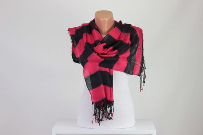 Red Black Striped Scarf