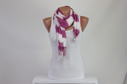 Pink White Striped Scarf